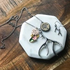 Silver Branch Antler Floral Long Hunting Necklace